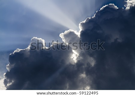 Rays of sun through the clouds