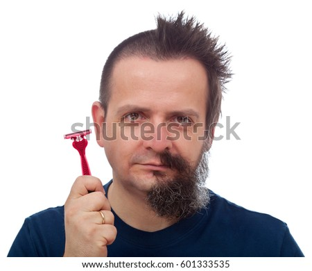 Razor efficiency mishap - man with half of head shaved off showing his red and pink disposable blade  #601333535