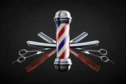 Razor, scissor and comb with pole emblem background concept. Barbershop background concept.