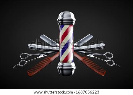 Razor, scissor and comb with pole emblem background concept. Barbershop background concept.