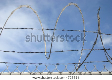 Razor wire spirals against the sky. The image uses a shallow depth-of-field, with the wire spiral going in and out of focus.