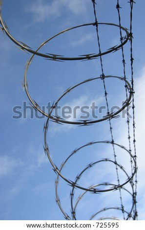Razor wire spirals against the sky with shallow depth-of-field. Wire is in focus from top to mid-frame, then goes soft towards the bottom.