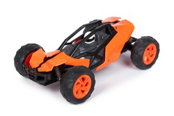 RC model rally, off road buggy. Isolated on white background, joy and fun sport