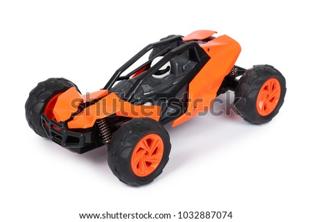 RC model rally, off road buggy. Isolated on white background, joy and fun sport Stock photo ©