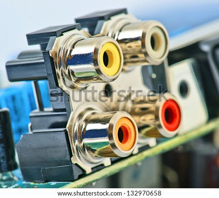 rca connection mounted on board with other electronic components #132970658
