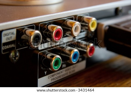 RCA connections on the back of a DVD player