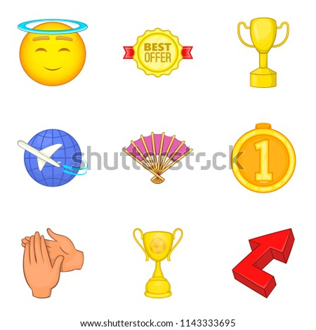 Reach icons set. Cartoon set of 9 reach icons for web isolated on white background