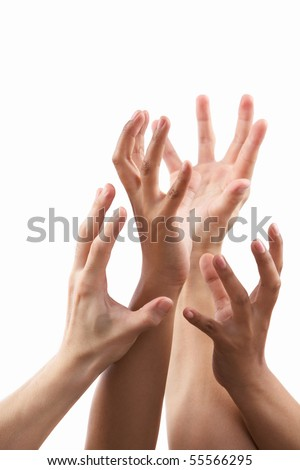 Reach out hand gesture from different skin tone hands, against white background