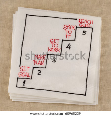reaching goal in five steps - napkin concept sketch - stock photo