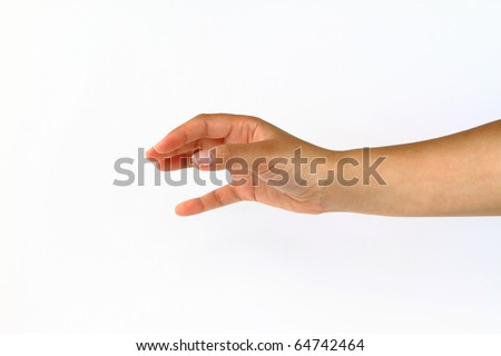 Reaching hand isolated on white background - stock photo