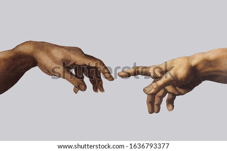 Reaching hands from The Creation of Adam of Michelangelo illustration isolated on grey background.