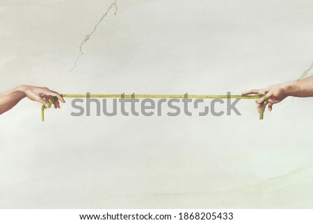 Reaching hands from The Creation of Adam of Michelangelo illustration representing social distancing, surreal concept  Foto stock ©