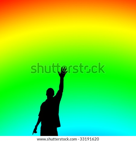 Reaching Up Silhouette On Rainbow Background