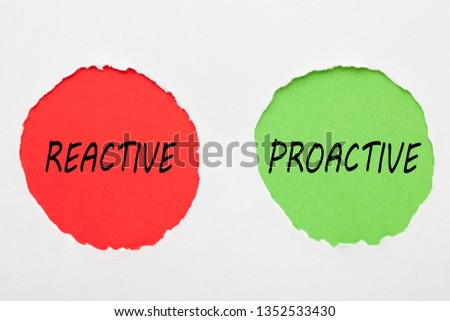 Reactive and Proactive words in red and green circles on white background. Business concept.