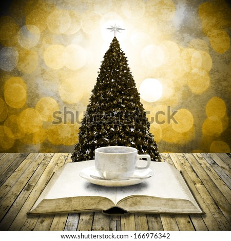 Read bible and drink coffee in Christmas day, Retro style