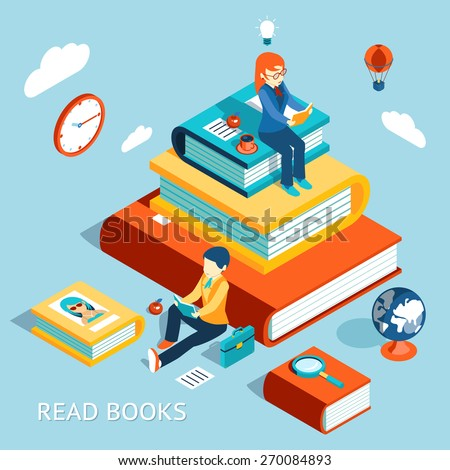 Read books concept. Education and school, study and literature