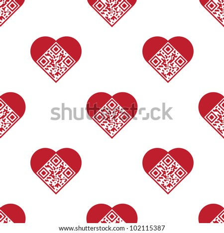 "Readable red artistic QR Code seamless pattern. Elements are in shape of heart with ""I Love You!"" text encoded. Raster version."