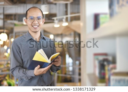 Reading a book, close up of a man during read a book, education concept