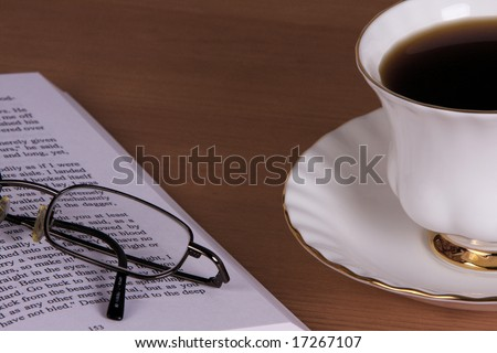 Reading book and a coffee