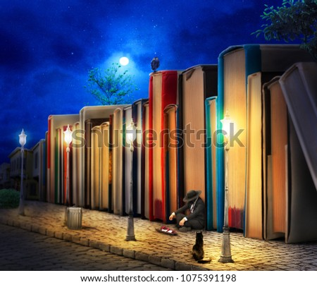 Reading concept. Fantasy. Stack of book as buildings on a street with streetlight in night. 3d illustration.