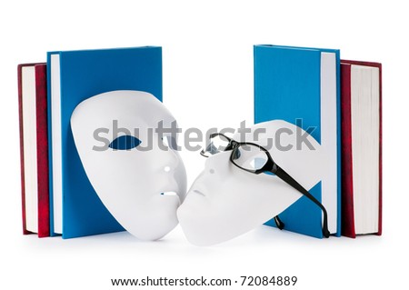 Reading concept with masks, books and  glasses