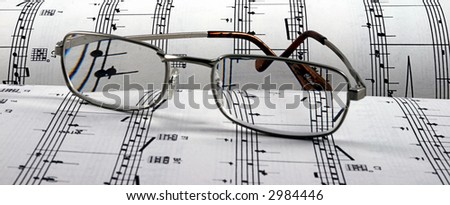 Reading Glasses on sheet music landscape mode