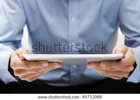 Reading news at digital tablet