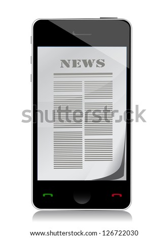 reading news on touch screen phone illustration design over white