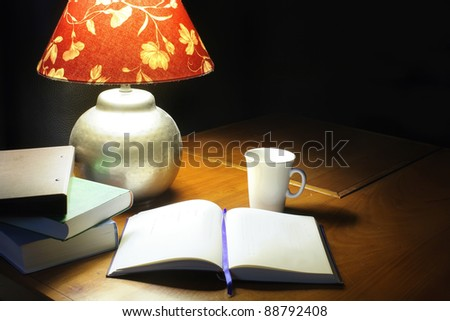 reading on the table at night
