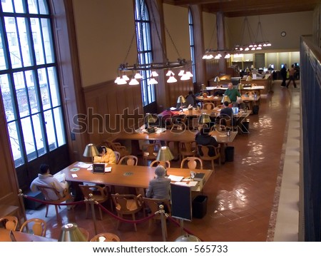 Reading room in the New York Public Library