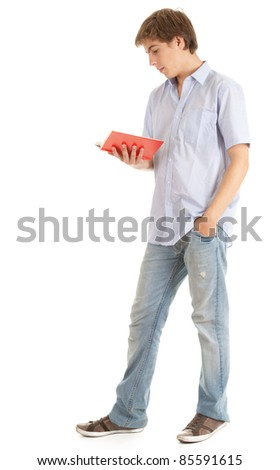 reading young male student with book, white background
