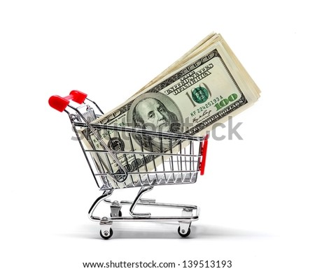 Ready for shopping - grocery cart with one hundred dollar bills isolated on white