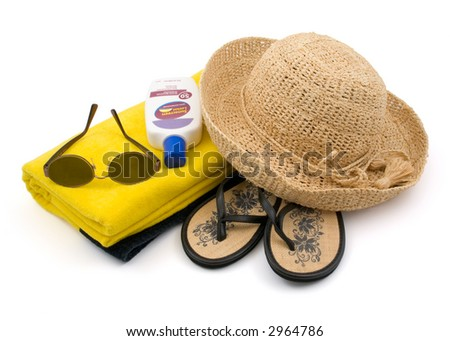 Ready for the Beach?   Towel, Sunglasses, Straw Hat, Sun Block, Sandals Isolated on White Background