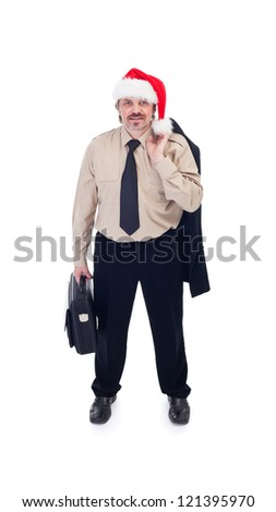 Ready for the Christmas party - businessman with santa hat, isolated