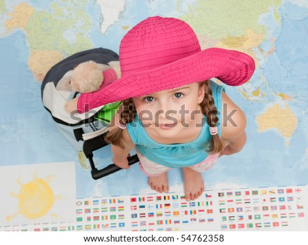 Ready for travel around the world (Blurred map background)