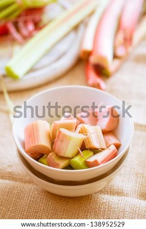 ready fresh raw rhubarb cut in a bowl