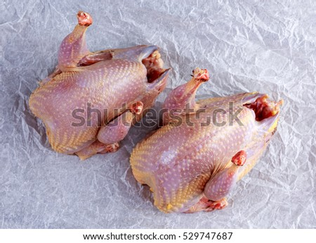Ready to cook raw seasoned partridges on crumpled paper.