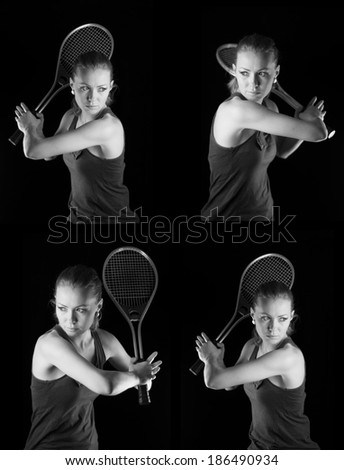 Ready to hit! Female tennis player with racket ready to hit a tennis ball. Set on black.