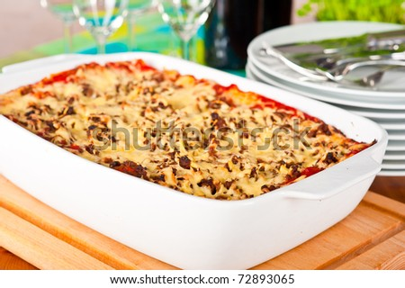 Ready to serve dish with lasagne.