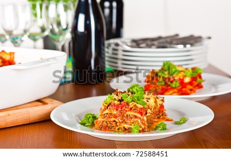 Ready to serve plate with lasagna.