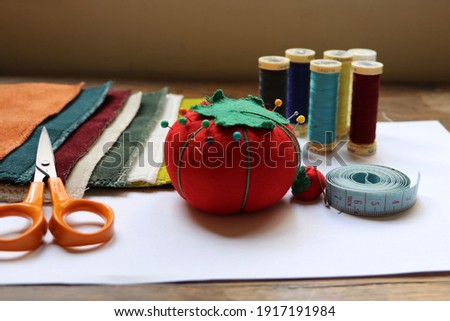 Ready to sew ! Have the right material for handmade sewing Foto stock ©