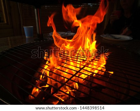 Ready to start grilling, flames in close-up picture