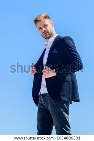 Ready to work. Male fashion. Formal style. Confident handsome businessman. Handsome man fashion model. Handsome guy posing in formal suit blue sky background. Office worker. Looking impeccable.