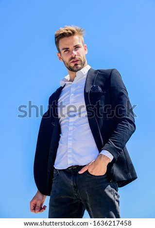 Ready to work. Male fashion. Formal style. Confident handsome businessman. Handsome man fashion model. Looking impeccable. Handsome guy posing in formal suit blue sky background. Office worker.