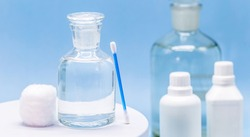 Reagent bottle with glass stopper, with hydrogen peroxide inside. Chemical element H2 O2 in laboratory