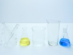 Reagents Beakers. Flasks with reagents. Biological laboratory. The concept is chemistry. Laboratory equipment. Laboratory work. Beakers for experiments. Chemical analysis.