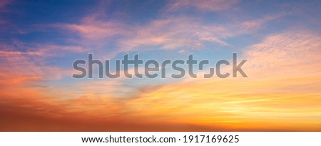 Real amazing panoramic sunrise or sunset sky with gentle colorful clouds. Long panorama, crop it Photo stock ©