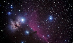 real astronomic picture taken using telescope of famous horsehead nebulae, in orion constellation