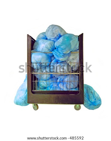 Real bags of hospital laundry. Sanitation by laundry or disposal of bio hazard waste is an important means of  infection control for patient and healthcare worker safety. Isolated.