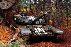 real battle tanks disguised in the trenches Donbass Ukraine